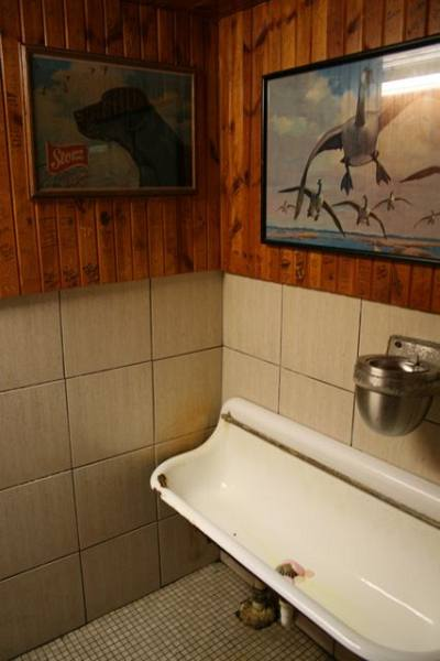 Rustic men's room