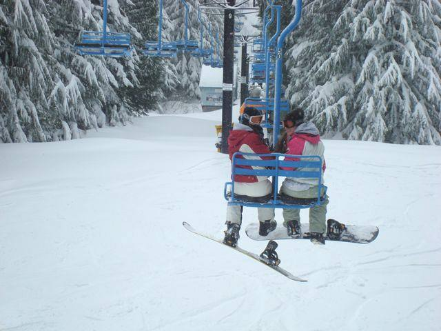 Brenna and Tressa on the ski lift